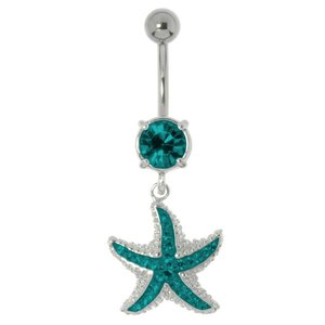 Bellypiercing Surgical Steel 316L Rhodium plated brass Crystal Starfish