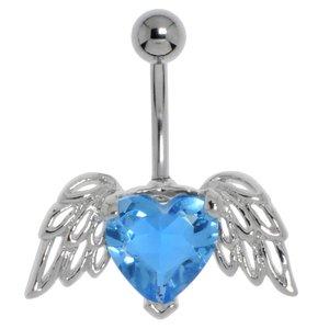Piercing de ombligo Acero quirúrgico Latón al rodio Cristal Corazón Amor Ala