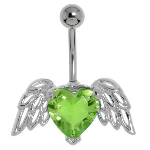 navelpiercing Chirurgisch staal 316L Messing gerodineerd Kristal hart liefde vleugels