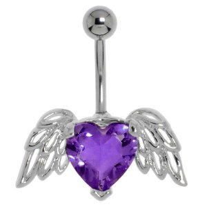 Bellypiercing Surgical Steel 316L Rhodium plated brass Crystal Heart Love Wings