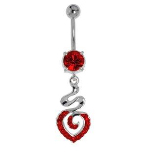 Piercing de ombligo Acero quirúrgico Latón al rodio Cristal Corazón Amor Espiral