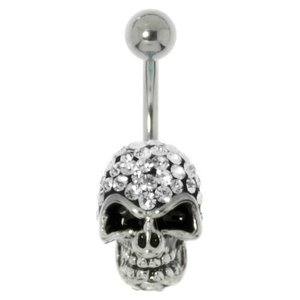 Bellypiercing Surgical Steel 316L Rhodium plated brass Crystal Skull Skeleton