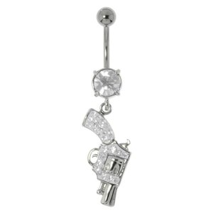 Bellypiercing Surgical Steel 316L Rhodium plated brass Crystal Pistol Gun Revolver