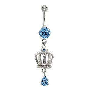 Bellypiercing Surgical Steel 316L Rhodium plated brass Crystal Crown Drop drop-shape waterdrop