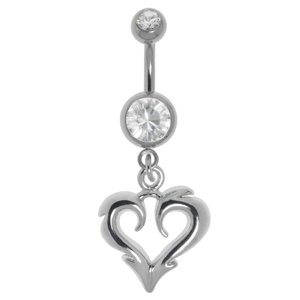 Bellypiercing Surgical Steel 316L Crystal steel-plated brass Heart Love