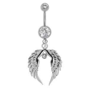Bellypiercing Surgical Steel 316L Crystal steel-plated brass Wings