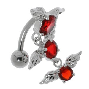 Bellypiercing Surgical Steel 316L zirconia Rhodium plated brass Wings