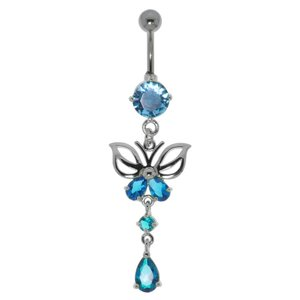 Bellypiercing Surgical Steel 316L Rhodium plated brass Crystal Butterfly Drop drop-shape waterdrop