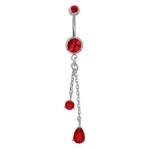 Piercing de ombligo Acero quirúrgico Latón al rodio cristales de Swarovski Cristal Gota Forma_de_gota Gota_de_agua