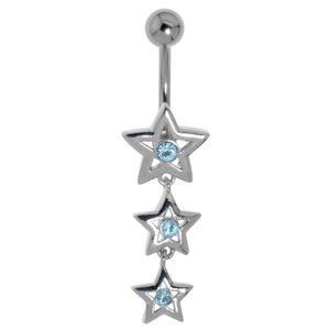 Piercing de ombligo Acero quirúrgico Latón al rodio Cristal Estrella