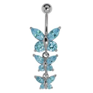 Bellypiercing Surgical Steel 316L Rhodium plated brass Crystal Butterfly