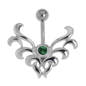 Bellypiercing Surgical Steel 316L Silver 925 Crystal Tribal_pattern