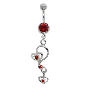Bellypiercing Surgical Steel 316L Rhodium plated brass Crystal Heart Love
