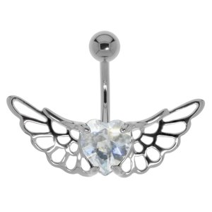 Bellypiercing Surgical Steel 316L Silver 925 Crystal Heart Love Wings