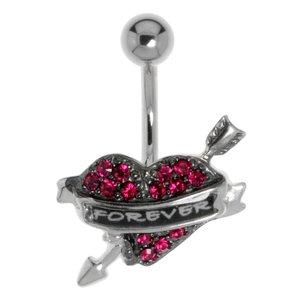 Bauchpiercing Chirurgenstahl 316L Silber 925 Kristall Herz Liebe Love Liebe Ewig Schlaufe Endlos Pfeil