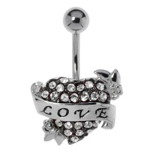 Bellypiercing Surgical Steel 316L Silver 925 Crystal Love Affection Heart Love
