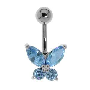 Bauchpiercing Chirurgenstahl 316L Messing rhodiniert Kristall Schmetterling Sommervogel