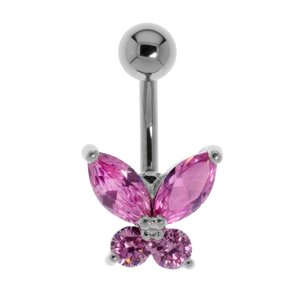 navelpiercing Chirurgisch staal 316L Messing gerodineerd Kristal vlinder