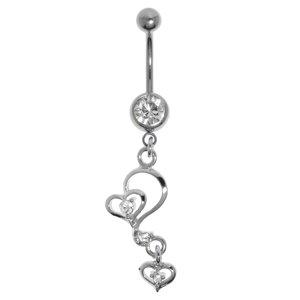 Piercing nombril Acier chirurgical 316L Laiton rhodié Cristal Coeur C?ur Amour