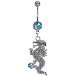 Bellypiercing Surgical Steel 316L Rhodium plated brass Crystal Dragon