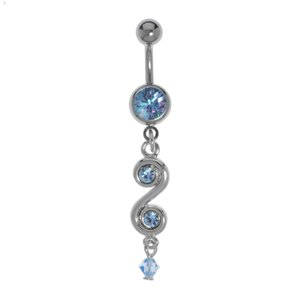Bellypiercing Surgical Steel 316L Rhodium plated brass Crystal Acrylic glass Spiral