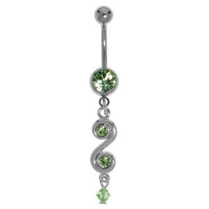 Bauchpiercing Chirurgenstahl 316L Messing rhodiniert Kristall Acrylglas Spirale