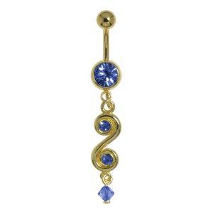 Piercing nombril Acier chirurgical 316L Revêtement d´or (doré) Cristal Verre en acrylique Spirale