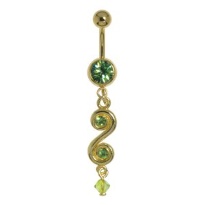Bellypiercing Surgical Steel 316L Gold-plated Crystal Acrylic glass Spiral