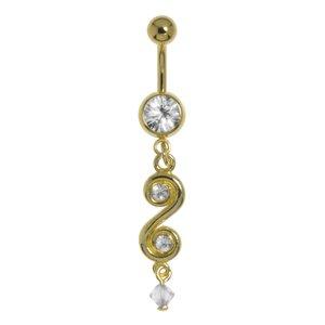 Piercing de ombligo Acero quirúrgico Revestido de oro Cristal Cristal acrílico  Espiral