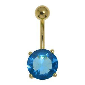 Bellypiercing Surgical Steel 316L PVD-coating (gold color) zirconia