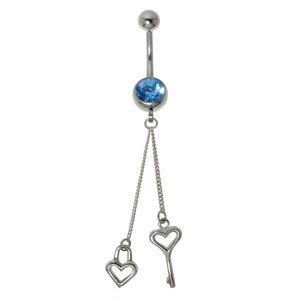 Bellypiercing Surgical Steel 316L Silver 925 Crystal Heart Love Key