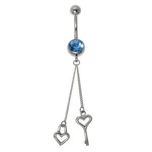 Piercing de ombligo Acero quirúrgico Plata 925 Cristal Corazón Amor Clave Llave