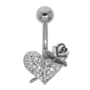 Piercing de ombligo Acero quirúrgico Plata 925 Cristal Corazón Amor Rosa Hoja Diseño_floral Flor