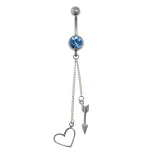 Bellypiercing Surgical Steel 316L Silver 925 Crystal Heart Love Arrow