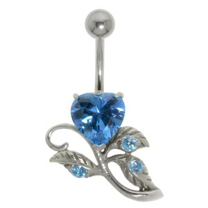 Bellypiercing Surgical Steel 316L Silver 925 zirconia Heart Love Leaf Plant_pattern Flower Rose