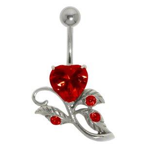 Piercing de ombligo Acero quirúrgico Plata 925 Circonita Corazón Amor Hoja Diseño_floral Flor Rosa
