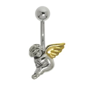 Bellypiercing Surgical Steel 316L Silver 925 Gold-plated Angel Wings