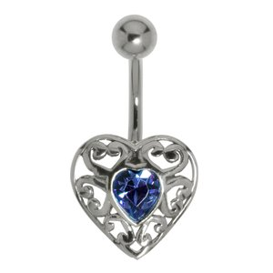 Bellypiercing Surgical Steel 316L Silver 925 Crystal Heart Love Tribal_pattern