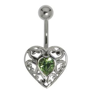 Piercing de ombligo Acero quirúrgico Plata 925 Cristal Corazón Amor Dibujo_Tribal Diseño_Tribal