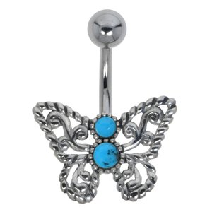 Bellypiercing Surgical Steel 316L Silver 925 Gemstone Butterfly