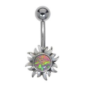 Bellypiercing Surgical Steel 316L Silver 925 Gemstone Flower