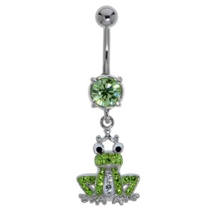 Bellypiercing Surgical Steel 316L Rhodium plated brass Crystal Frog