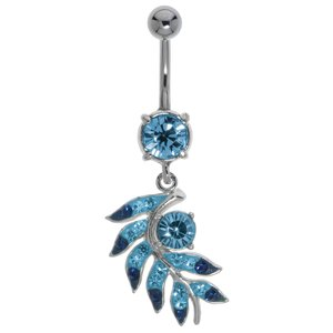 Bellypiercing Surgical Steel 316L Rhodium plated brass Crystal Leaf Plant_pattern