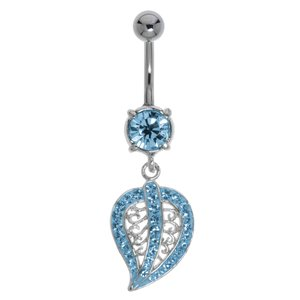 Piercing de ombligo Acero quirúrgico Latón al rodio Cristal Hoja Diseño_floral