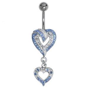 Piercing de ombligo Acero quirúrgico Latón al rodio Cristal Corazón Amor