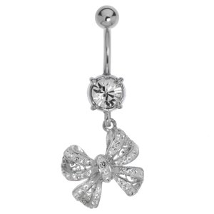Bellypiercing Surgical Steel 316L Rhodium plated brass Crystal Ribbon Bow Hair_bow
