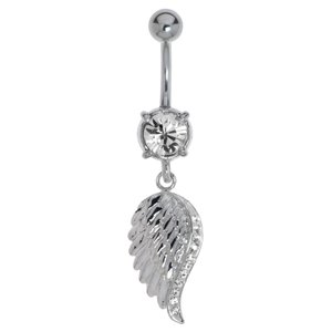 Bellypiercing Surgical Steel 316L Rhodium plated brass Crystal Wings
