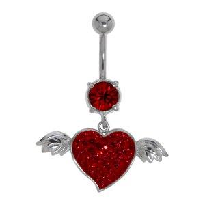 Bauchpiercing Chirurgenstahl 316L Messing rhodiniert Kristall Herz Liebe Flügel Love Liebe