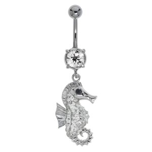 Bellypiercing Surgical Steel 316L Rhodium plated brass Crystal Seahorse