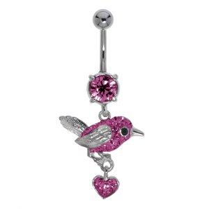 Piercing de ombligo Acero quirúrgico Latón al rodio Cristal Corazón Amor Águila Pájaro Ave Ala